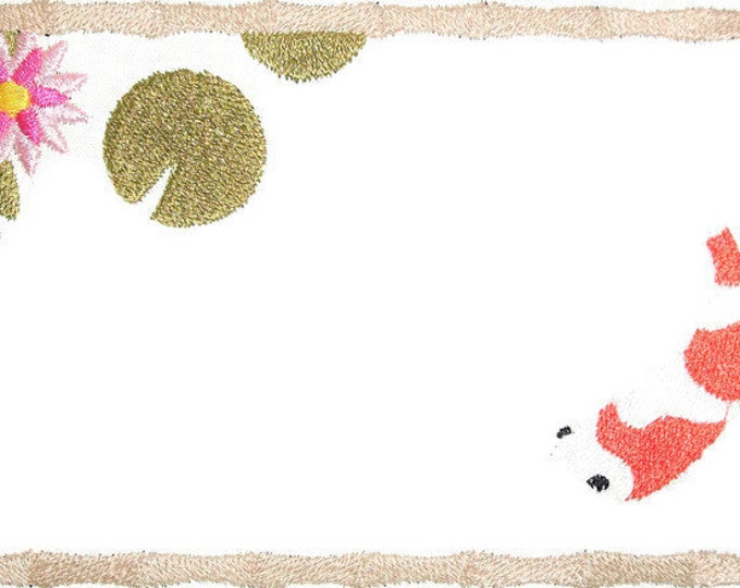 Japanese Koi embroidered quilt label to personalize with your custom message documenting your quilts history.
