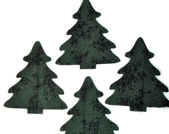 Set of 12 Pine Tree appliques die cut from 100% cotton