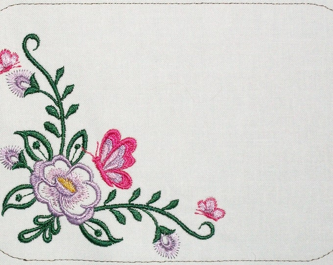 Floral Butterfly embroidered quilt label, to customize with your personal message