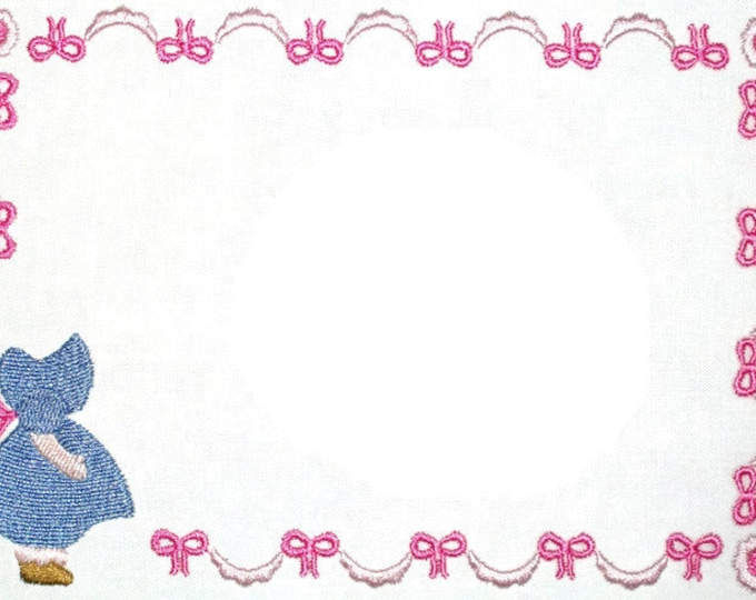Sunbonnet Sue embroidered quilt label, to customize with your personal message