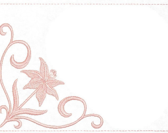 Lily Floral embroidered quilt label to customize with your personal message