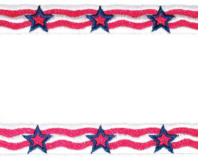 Patriotic flag stars & stripes embroidered quilt label, to customize with your personal message