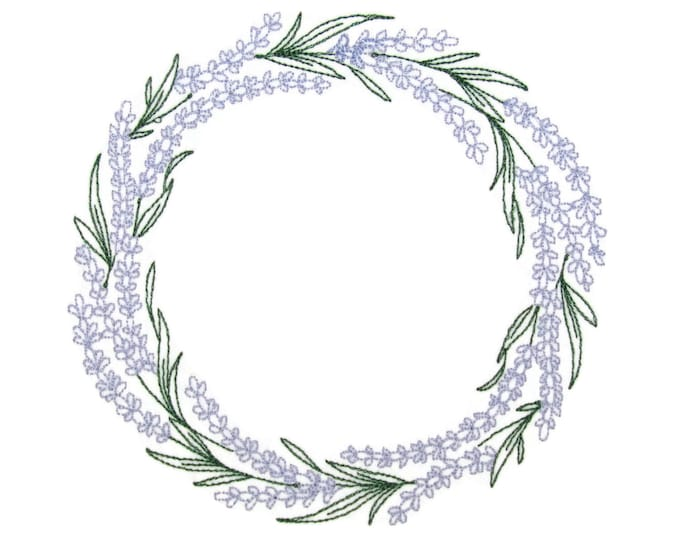 Lavender Wreath embroidered quilt label to customize with your personal message