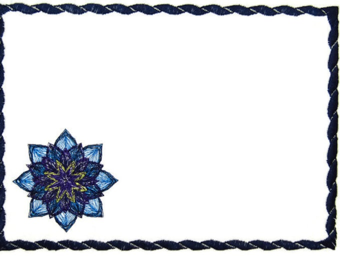 Dahlia Sketch embroidered quilt label to customize with your personal message