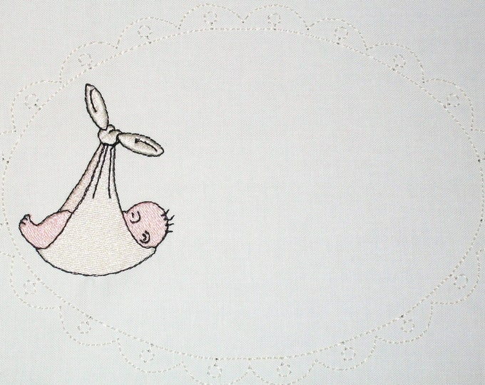 Stork's special baby delivery embroidered quilt label, to customize with your personal message