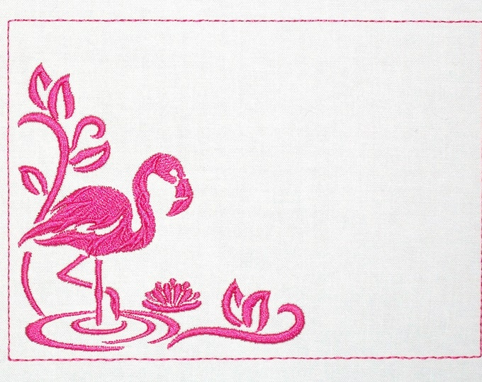Pink Flamingo embroidered quilt label to customize with your personal message