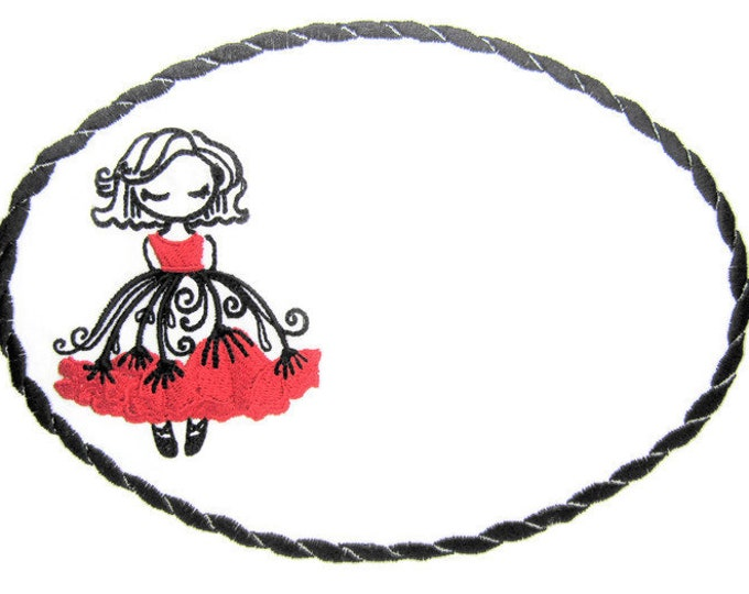 Ballerina embroidered quilt label to customize with your personal message