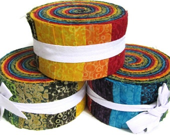 "Celestial Batik Jelly roll 40 strips x 2.5"" wide 100% Cotton"