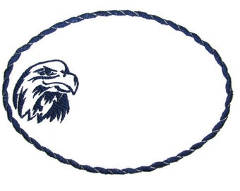 Eagle embroidered quilt label to customize with your personal message