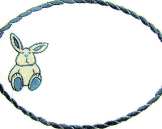 Bunny toy embroidered quilt label to customize with your personal message