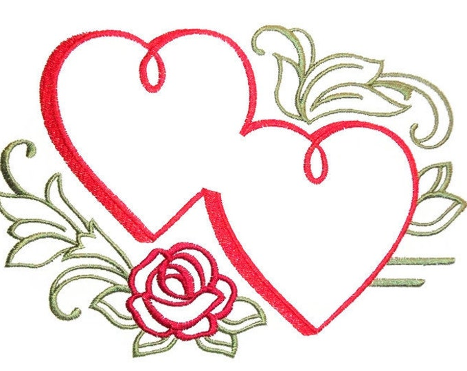 Hearts embroidered quilt label to customize with your personal message