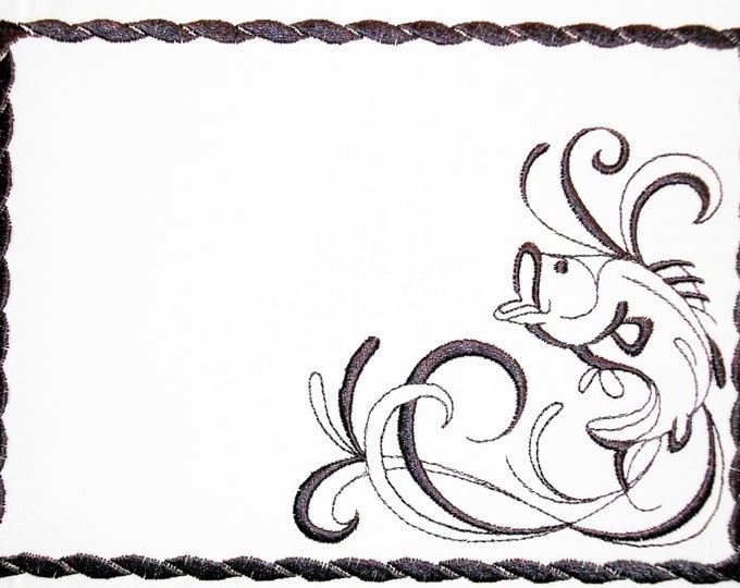 Fishing embroidered quilt label to customize with your personal message