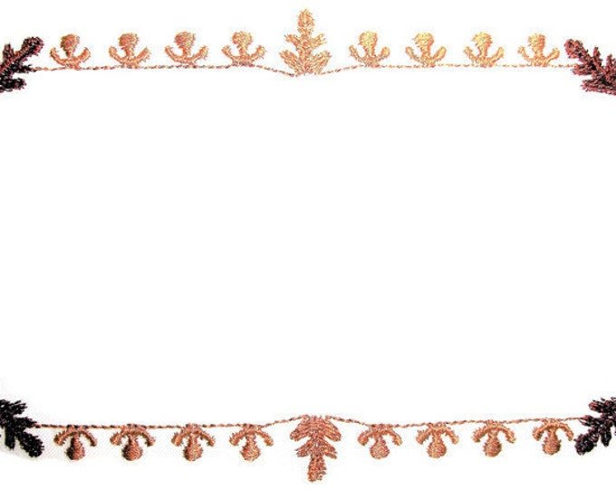 Oak Leaves embroidered quilt label, to customize with your personal message