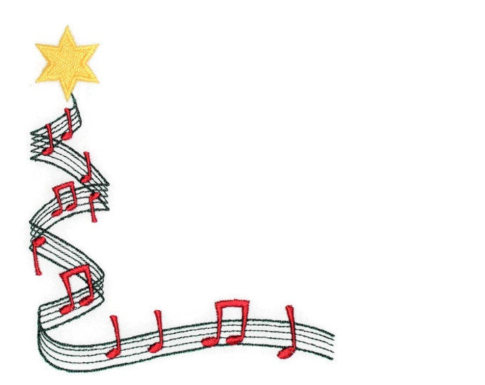 Musical Christmas tree embroidered quilt label to customize with your personal message