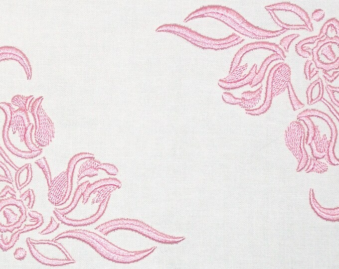 Pink Tulip embroidered quilt label to customize with your personal message