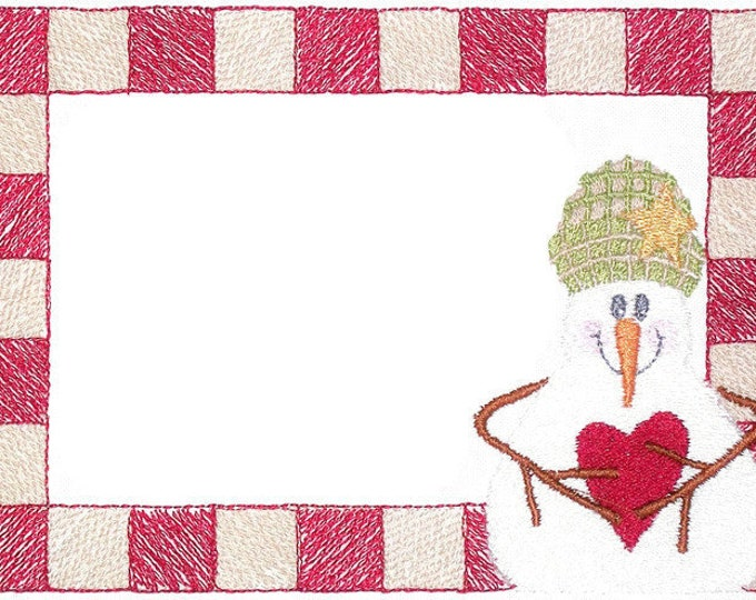 Snowman embroidered quilt label to customize with your personal message