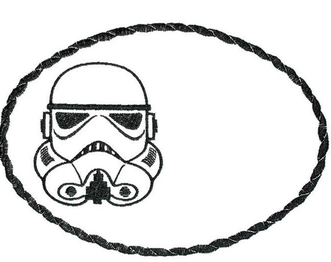 Storm Trooper Embroidered Quilt Label to customize with your personal message