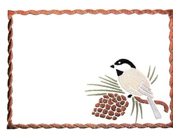 Chick-a-dee embroidered quilt label to customize with your personal message