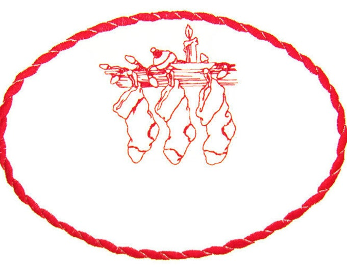 Christmas Stockings hung embroidered quilt label to customize with your personal message