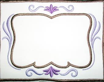 Purple filigree embroidered quilt label to customize with your personal message