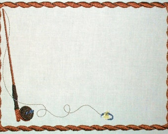 Fly fishing rod embroidered quilt label, to customize with your personal message