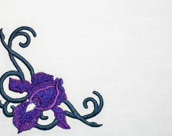 Dark Purple Iris embroidered quilt label to customize with your personal message