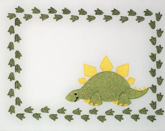 Dinosaur Embroidered Quilt Label to customize with your personal message