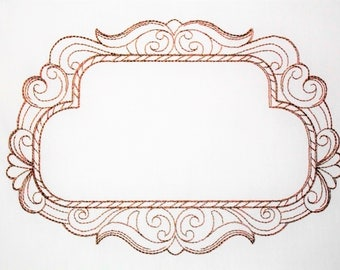 Scrolled Frame embroidered quilt label to customize with your personal message