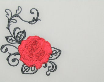 Red Rose filigree embroidered quilt label to customize with your personal message