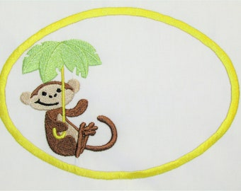 Monkey Business embroidered quilt label to customize with your personal message