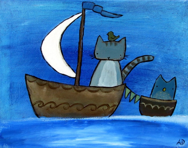 the moon sail cat in boat whimsical kids art print wall art etsy