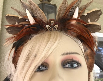 Cosplay Horn Headband, Whimsical Horn Headband, Wearable Deer Horn Nubs, Cute  costume, Feather and Fur Horn ears