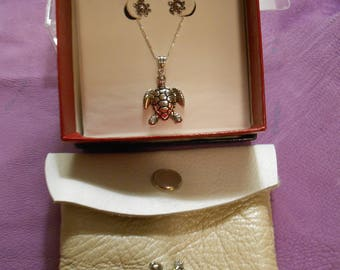 Native American Turtle Pouch, Sterling Silver Stud Earrings and 20 in chain with Turtle