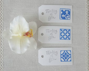 Thinking of You, Hand Stamped Portuguese Azulejo Tile Inspired Gift Tags, Pkg of 15