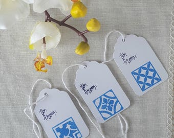 To/From, Hand Stamped Portuguese Azulejo Tile Inspired Gift Tags, Pkg of 15