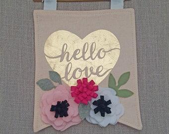 Hello Love Hanging Fabric Banner Felt Art
