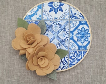 Felt Flower Azulejo Tile Fabric Embroidery Hoop Art