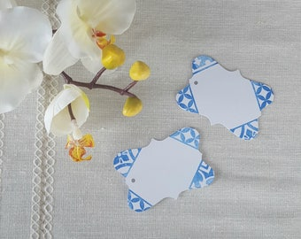 Hand Stamped Portuguese Azulejo Tile Inspired Gift Tags, Pkg of 15