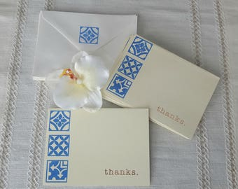 Thank You Note Cards, Portuguese Azulejo, Hand Stamped, Pkg of 8, Matching Envelopes