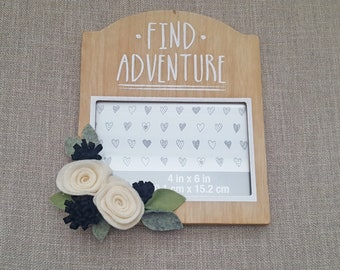 Find Adventure Wood Photo Frame Felt Flowers