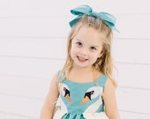 Swan Princess Blue Taffeta Hair Bow