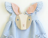Girl's Summer Bunny Dress// Blue Gingham Bunny Dress