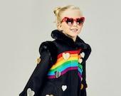 Girl's Rainbow Coat// Queen of Hearts Coat// Black Wool Winter Coat with Hearts and Rainbow