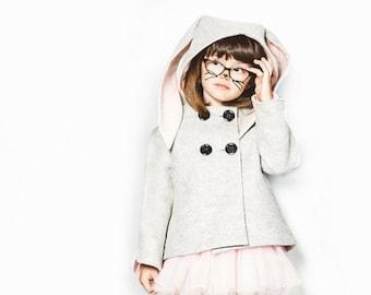 Luxe Bunny Coat in Grey and Pink Merino Wool