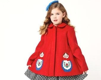 Girl's Red Coat// Matryoshka Coat//Russian Nesting Dolls Coat// Handmade Wool Coat// Girls Dress Coat