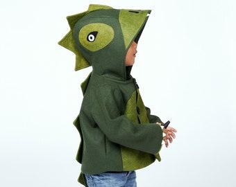 Green Wool Dinosaur Coat