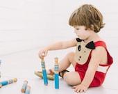 Toddler Boy Linen Puppy Sunsuit