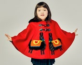 Red Wool Alpaca Cape// Handmade Girls Winter Outerwear// Red Wool Winter Cape with Black Fur Trim // Handmade Girls Clothing