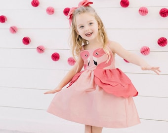 Girl's Pink Flamingo Party Dress