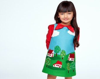 Little Cloud Dress and Red Bow Blouse by World of Eric Carle + Little Goodall/ Handmade Childrens Clothing